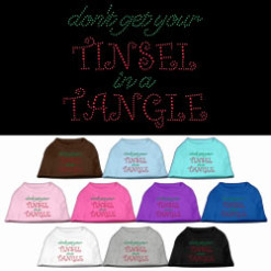 Don't Get Your Tinsel in a Tangle rhinestones dog t-shirt colors