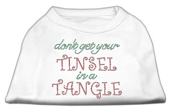 Don't Get Your Tinsel in a Tangle rhinestones dog t-shirt white