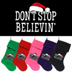 Don't Stop Believin dog stocking