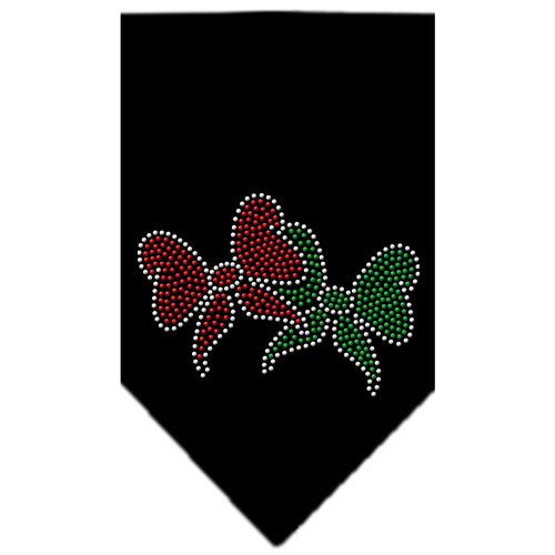 Double Christmas bows dog bandana black