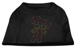Double candy cane rhinestone dog shirt black