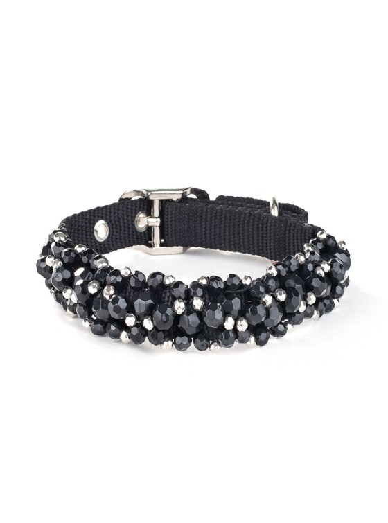 Fabuleash Black Jet Beaded Dog Collar