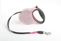 Fabuleash Pink Rhinestones Retractable Leash