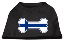 Finland flag bone shape outline sleeveless dog t-shirt black