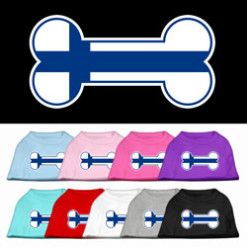 Finland flag bone shape outline sleeveless dog t-shirt multi color