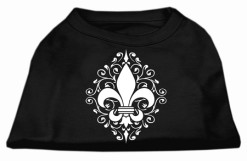 Floral Fleur de Lis dog t-shirt sleeveless black