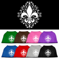 Floral Fleur de Lis dog t-shirt sleeveless multi-colors