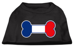 France flag bone shape outline sleeveless dog t-shirt black