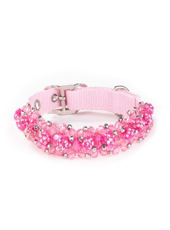 Fuchsia Fireball Beaded Dog Collar