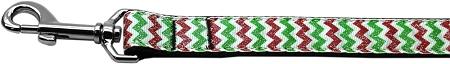 Glittery Christmas Red & Green Chevron Nylon Webbing Dog Leash