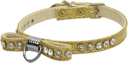 Gold Bow Dog Collar