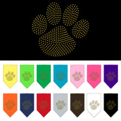Gold Dog Paw rhinestone bandana