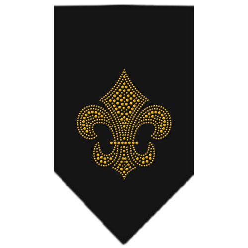 Gold rhinestone Fleur de lis dog bandana black