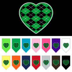 Green Argyle heart dog bandana