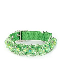 Green Beeded Dog Collar Fireball