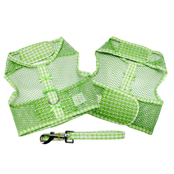 Green Gingham and Bows Cool Mesh Dog Harness and Leash
