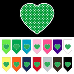 Green polka dot heart dog bandana