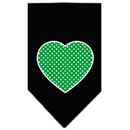 Green polka dot heart dog bandana black