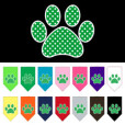 Green polka dot paw dog bandana