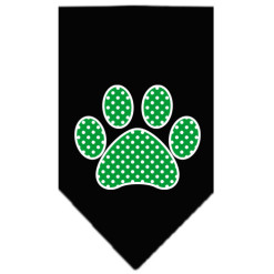 Green polka dot paw dog bandana black
