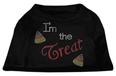 Halloween I'm the Treat rhinestones dog t-shirt black