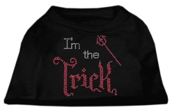 Halloween I'm the Trick rhinestones dog t-shirt black