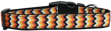 Halloween chevron pattern adjustable dog collar