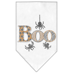 Halloween spiders boo rhinestone dog bandana white