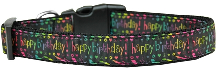 Happy Birthday Nylon Adjustable Dog Collar Neon colors