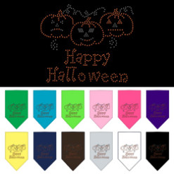 Happy Halloween Jack-o'-lantern rhinestone bandana