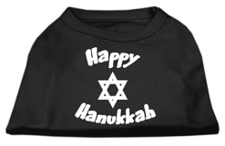 Happy Hanukkah star of David dog t-shirt black