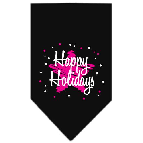 Happy Holidays pink star dog bandana black