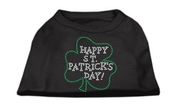 Happy St Patricks Day shamrock rhinestones dog t-shirt black