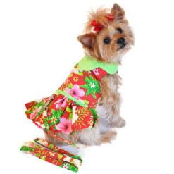 Hawaiian Red Hibiscus Dog Dress