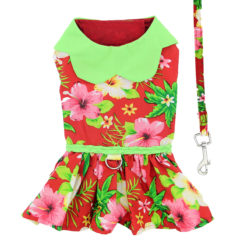 Hawaiian Red Hibiscus Dog Dress back