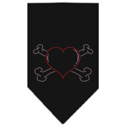 Heart and crossbones rhinestone dog bandana black