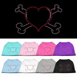 Heart and crossbones rhinestones dog t-shirt colors