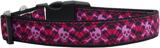 Hot Pink Skull and Crossbones Adjustable Dog Collar