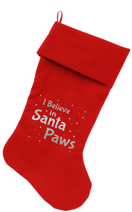 I Believe in Santa Paws Christmas dog stocking red
