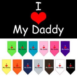 I Heart My Daddy dog bandana