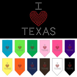 I Heart Texas rhinestone dog bandana
