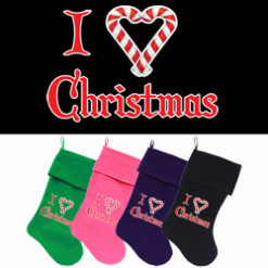 I Love Christmas dog stockings