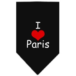 I Love Paris dog bandana black