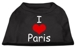 I Love Paris dog t-shirt sleeveless black