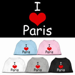I Love Paris dog t-shirt sleeveless multi-colors