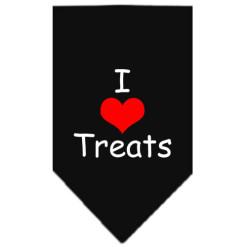 I Love Treats dog bandana black