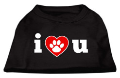 I Love You dog t-shirt sleeveless dog paw black