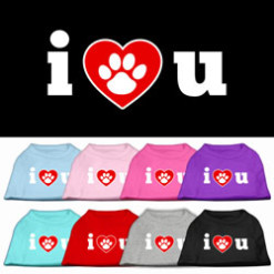 I Love You dog t-shirt sleeveless dog paw multi-colors
