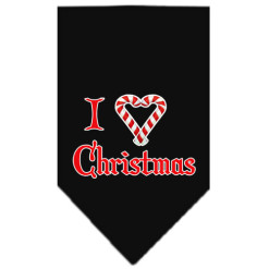 I love Christmas dog bandana candy cane black