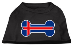 Iceland flag bone shape outline sleeveless dog t-shirt black